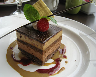 Top of the Hub; Boston Restaurant; Boston Chocolate Tour; Divinebella; Dessert; Chocolate Mousse; Espresso Mousse Cake