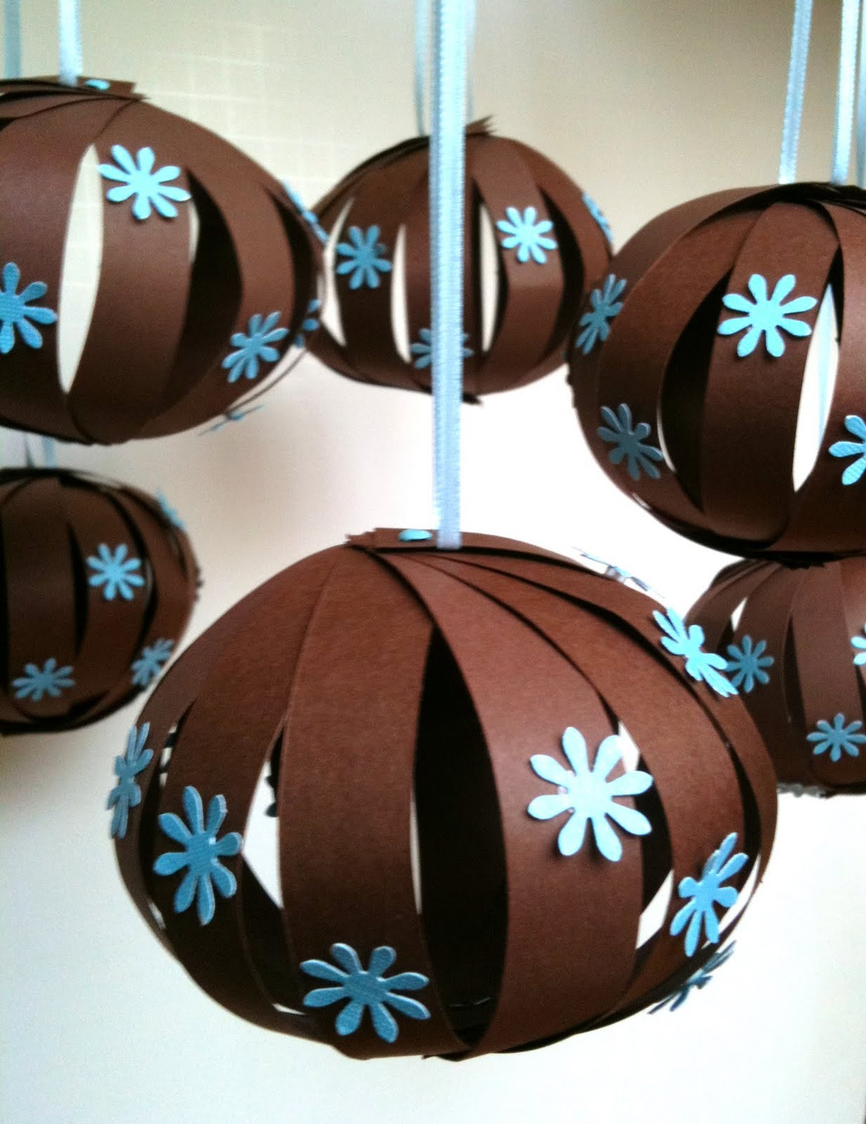 Barefoot sewing crafting baby shower hanging balls for Baby boy baby shower decoration ideas