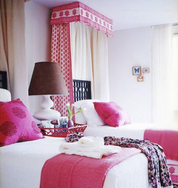 Chic Room Featuring Twin Beds Designed by Barrie Benson