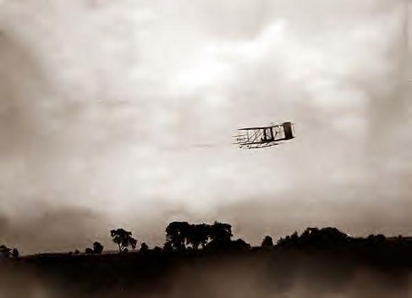 Wright Bros flight 45. Orville flying. 1905