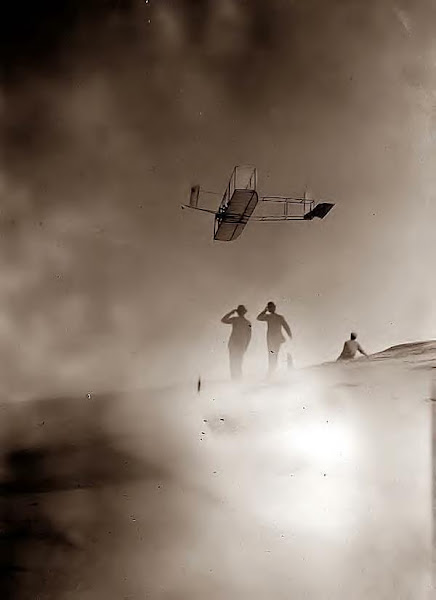 Wilbur Wright flying. Kitty Hawk, NC 1911