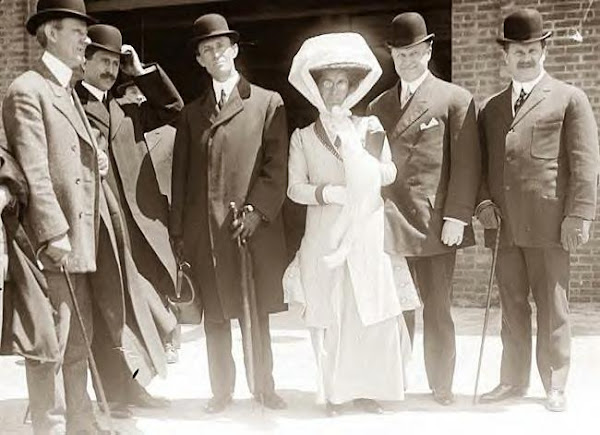 Wilbur & Orville Wright & Katharine with others. 1907