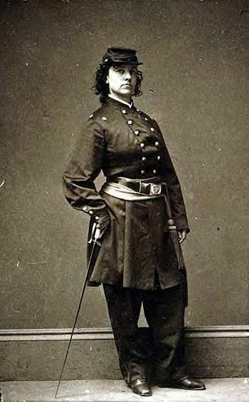 Pauline in her Union Army uniform during the Civil War