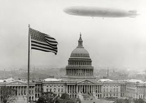 Graf Zeppelin over Capitol. The German airship