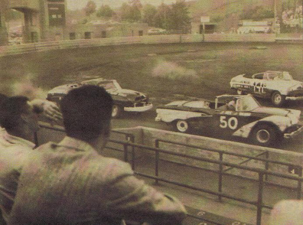 Stock Car Racing at the Rubber Bowl, Akron, Ohio, late 1950s
