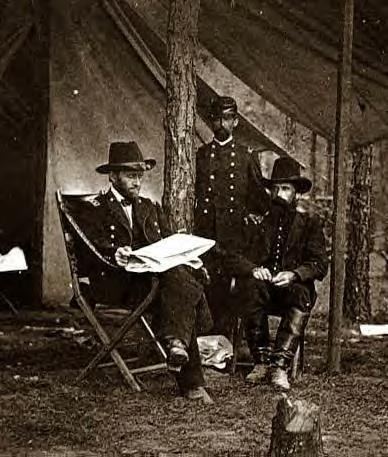 1861: Grant with staff in camp
