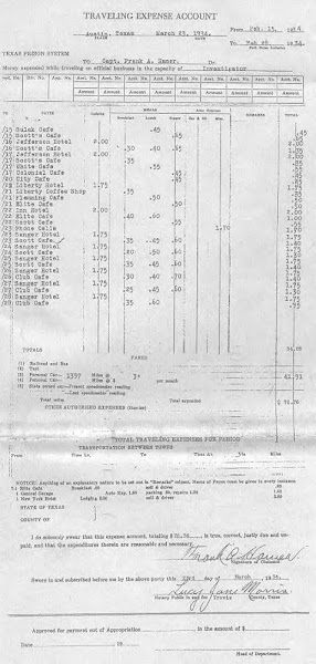 Documents ~ Expense account-Frank Hamer