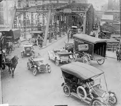 Chicago traffic on bridge, 1928