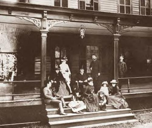 U.S. Grant and his family on the porch of the Grant Cottage in 1885
