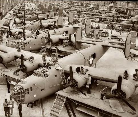B-24 bomber assembly hall, location unspecified. April 1943