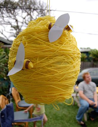1 Create A Bee Hive Out Of Balloon Yarn Or Streamer And Store Bought Bumblebees