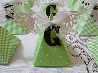use triangle boxes with angel wings add the baby 39 s initial and you