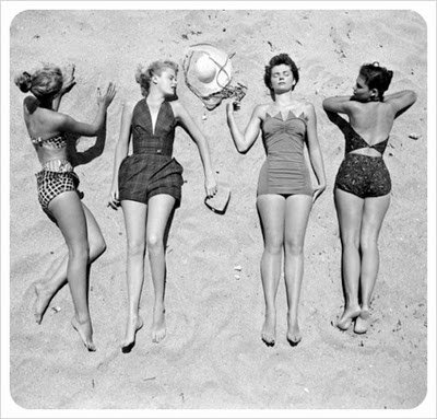 Soak in the sun tan picture vintage black and white picture photo
