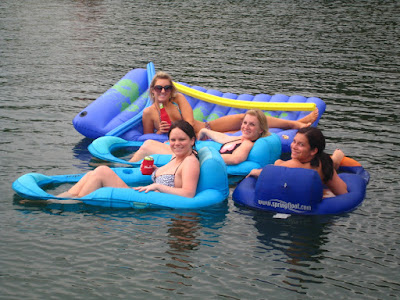 floating in the lake in Minnesota picture photo girls