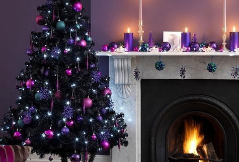 Vicky 39 s home decorando la casa para navidad decorating - Arbol de navidad morado ...