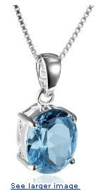 Sterling Silver Blue Topaz Pendant, 18