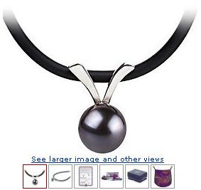  Brooke Black 7-8mm AA Freshwater Sterling Silver Pearl Pendant