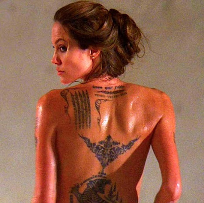 angelina jolie wanted back tattoo. The one with the Wanted Movie