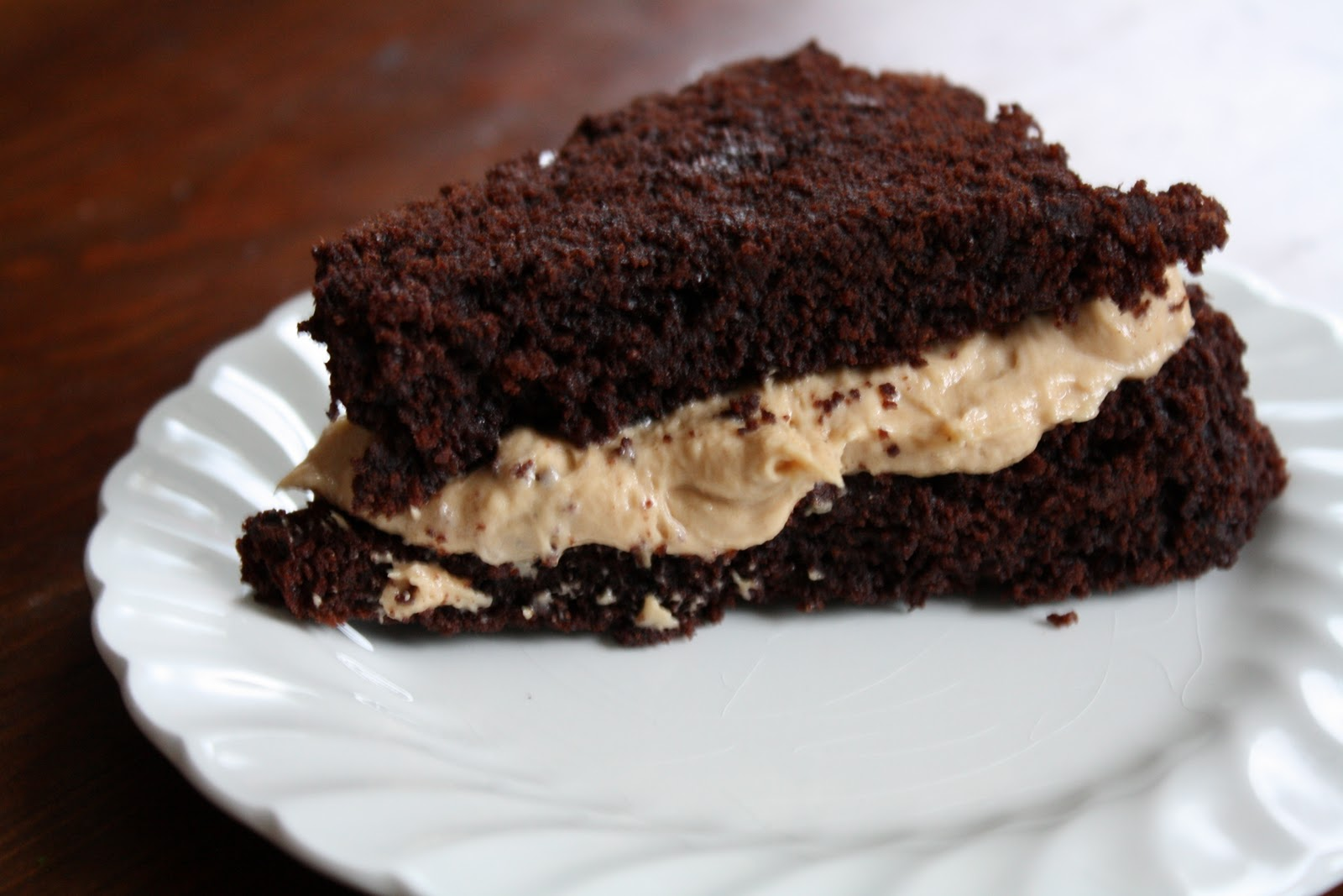 ... : Double Chocolate Loaf Cake with Peanut Butter Cream Cheese Spread