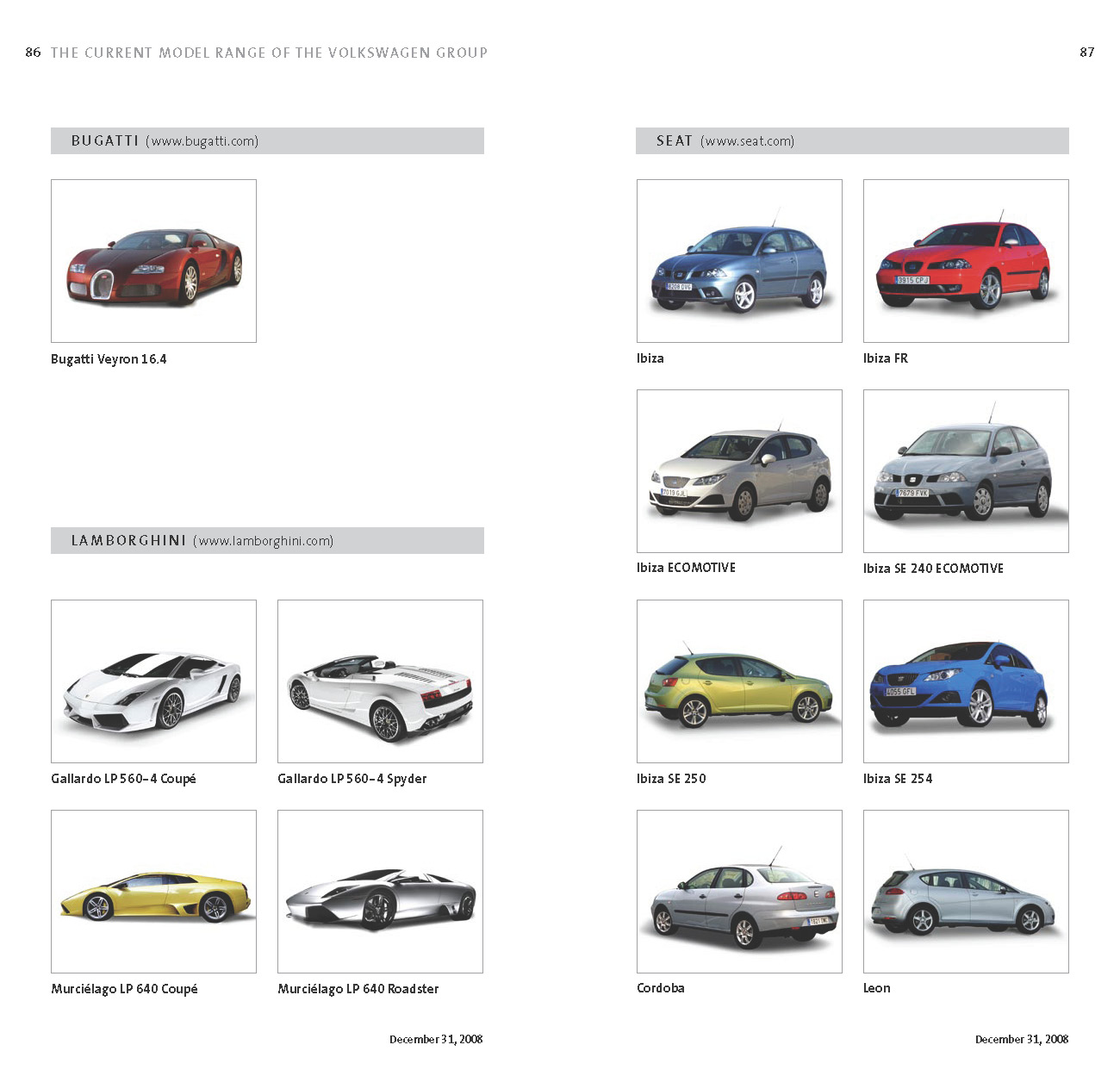 SPORT CARS 2011: Complete List of VW Group\'s 178 Models Sold Worldwide