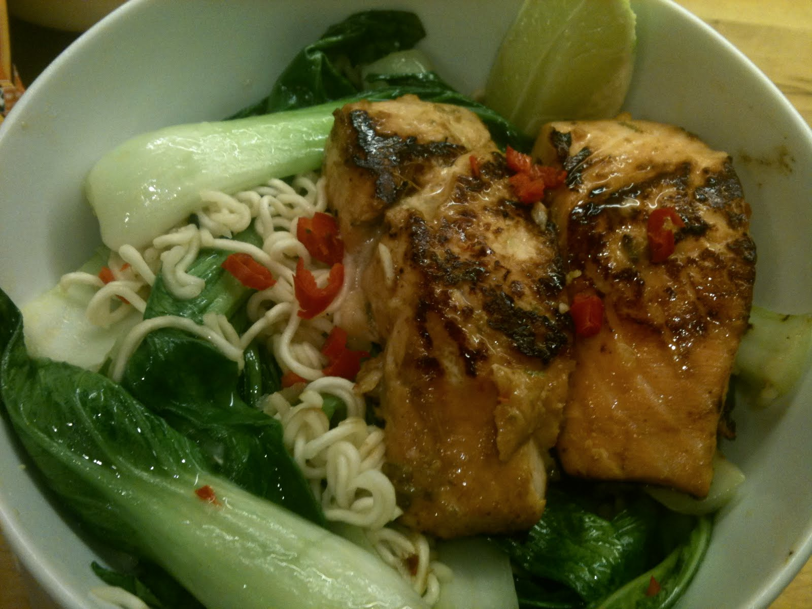 a hungry swede in london salmon with pak choi and noodles. Black Bedroom Furniture Sets. Home Design Ideas