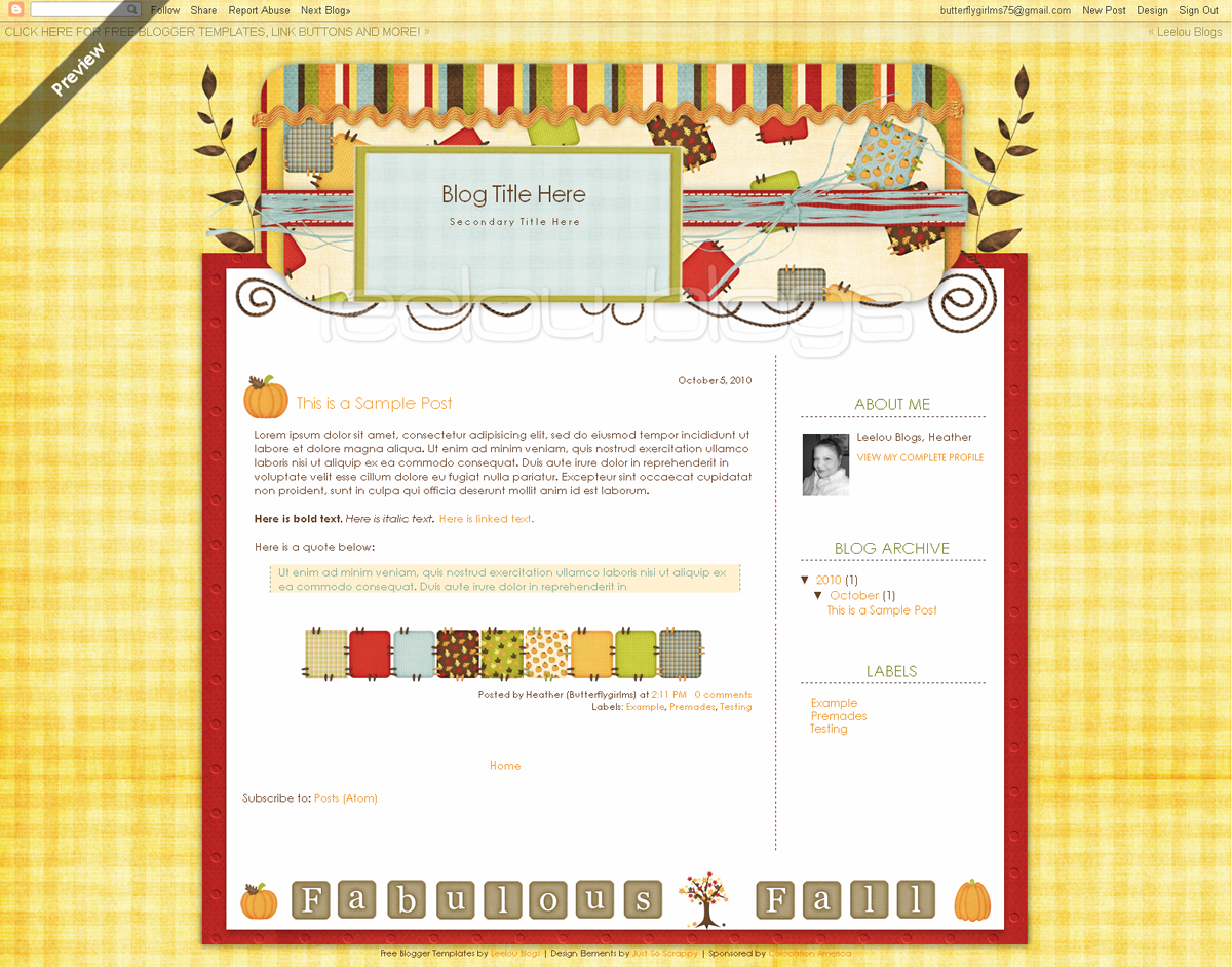 Butterflygirlms Rambles On: *NEW* Free Blogger Template: Patchwork