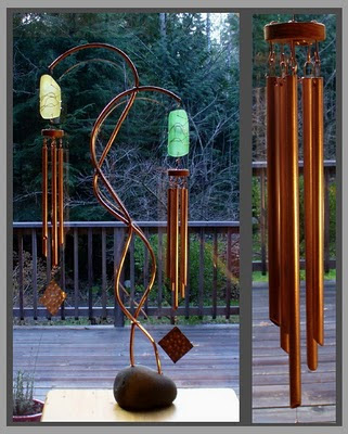 wind chime, freestanding, large, beach stone, copper, glass