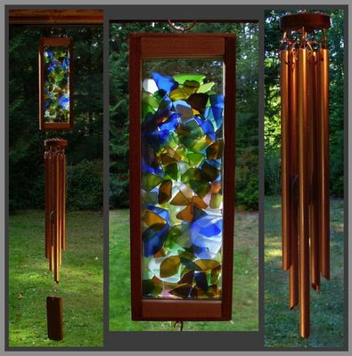 windchime, stained glass, copper