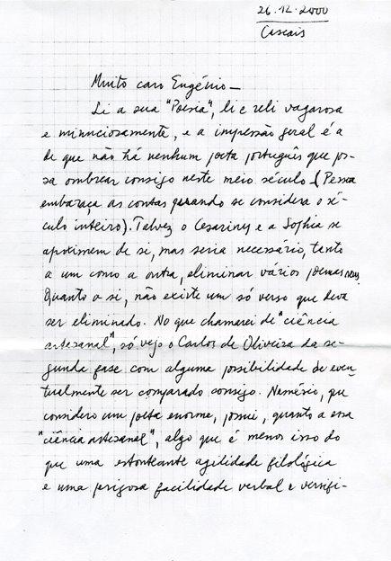 Uma carta de Herberto Helder a Eugénio de Andrade