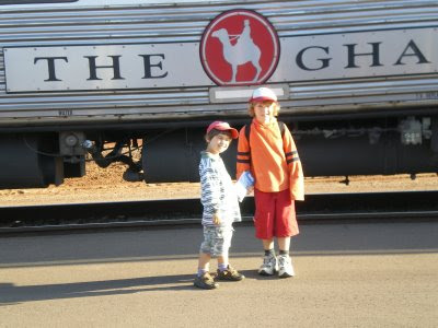 The Lads in front of The Ghan