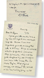 Letter from EM Forster to Tony Dyson, March 14 1958. LSE/HCA/DYSON/1.