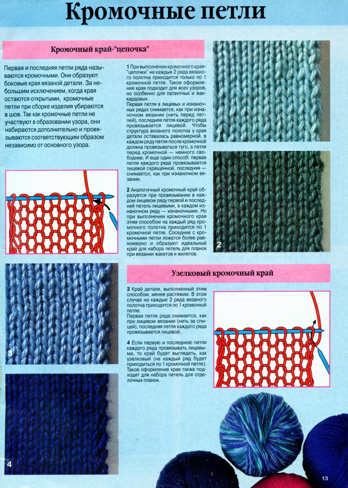 Виды вязания кромочной петли
