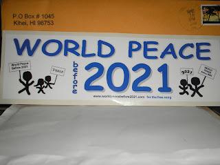 Brinde Gratis Adesivo 'Paz Mundial antes de 2021'