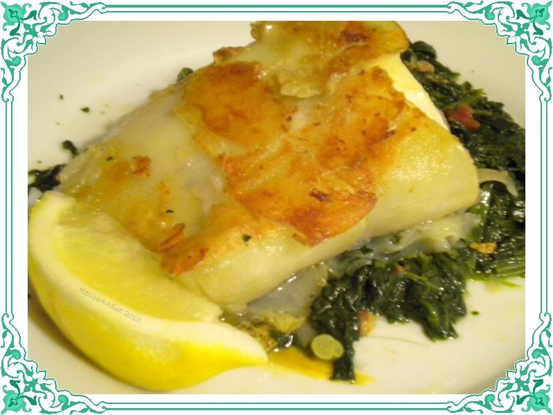 RecipeAddict: Potato Crusted Halibut with Sauteed Spinach