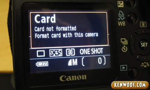 canon memory card not formatted