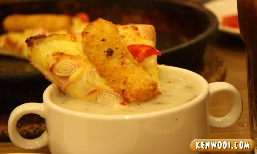 fish king pizza mushroom soup