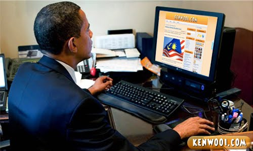 barack obama with computer
