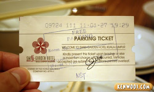swiss garden hotel parking ticket