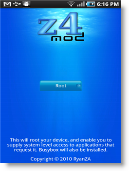 Z4Root Android Application To Root Android 2.2 Froyo