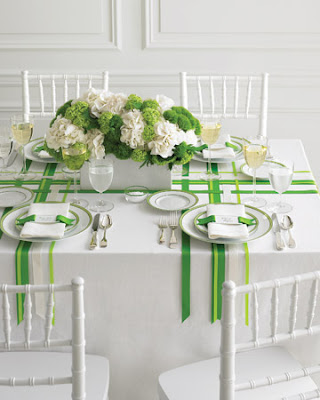 From the current Martha Stewart Weddings issue white hydrangeas green