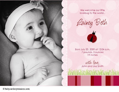 ladybug photo baby birth announcement