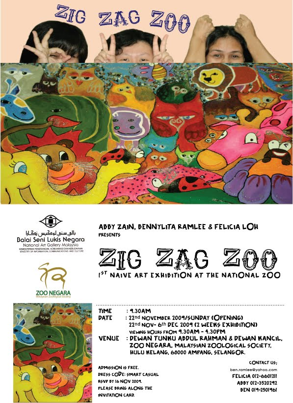 Group exhibition zig zag zoo art exhibition in zoo negara zig zag zoo art exhibition in zoo negara auditorium hall yr 2009 invitation card for the stopboris Image collections