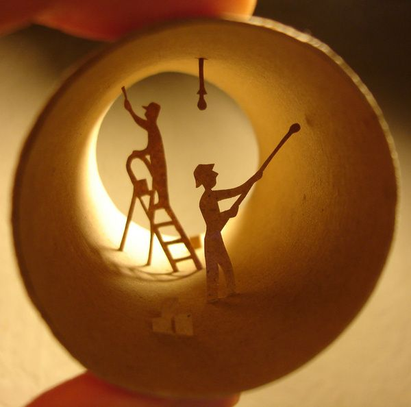 Interesting anastassia elias toilet paper roll art for Painting toilet paper rolls