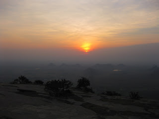 Sunrise as seen from the top of Madhugiri betta