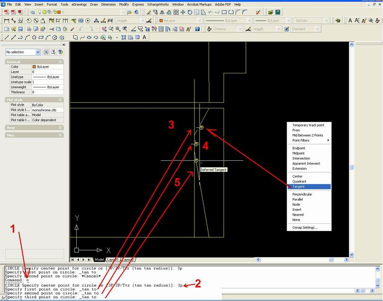 Drawing Smooth Lines In Autocad : Belajar autocad circle p three points