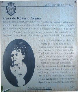 Gijón, casa de Rosario de Acuña, placa