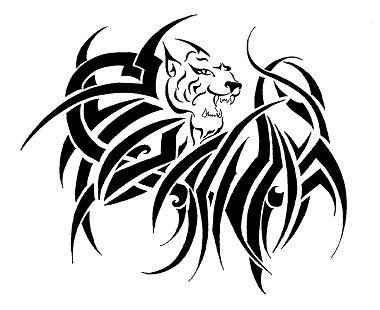 Tribal Tattoo Design: lion head tribal