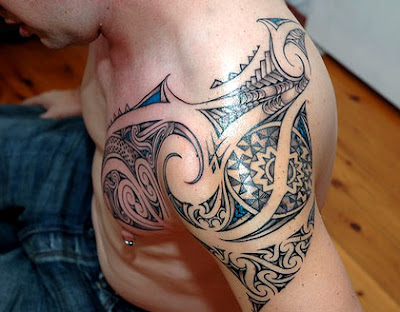 Shoulder and Chest Tribal Tattoo