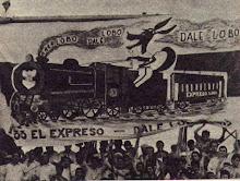 tribuna de gimnasia en el año ´62 con una banderaalusiva al Expreso.