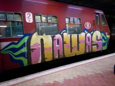 Graffiti art on trains